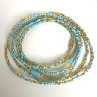 Gold & Baby Blue Waist beads