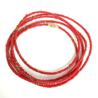 Red & Brass African Waist Beads