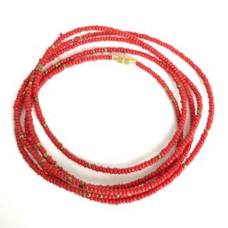 Red & Brass African Waist Beads