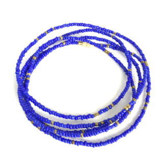 Royal Blue & Brass Waist Beads