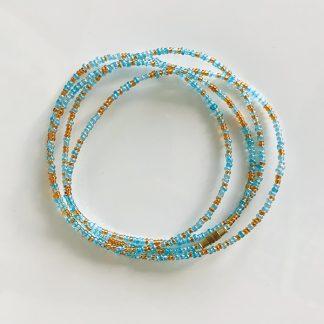 sky blue gold waist beads