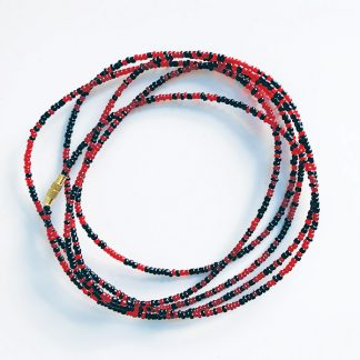 Black & red African waist beads