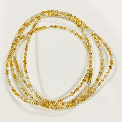 Luminous clear gold waist beads